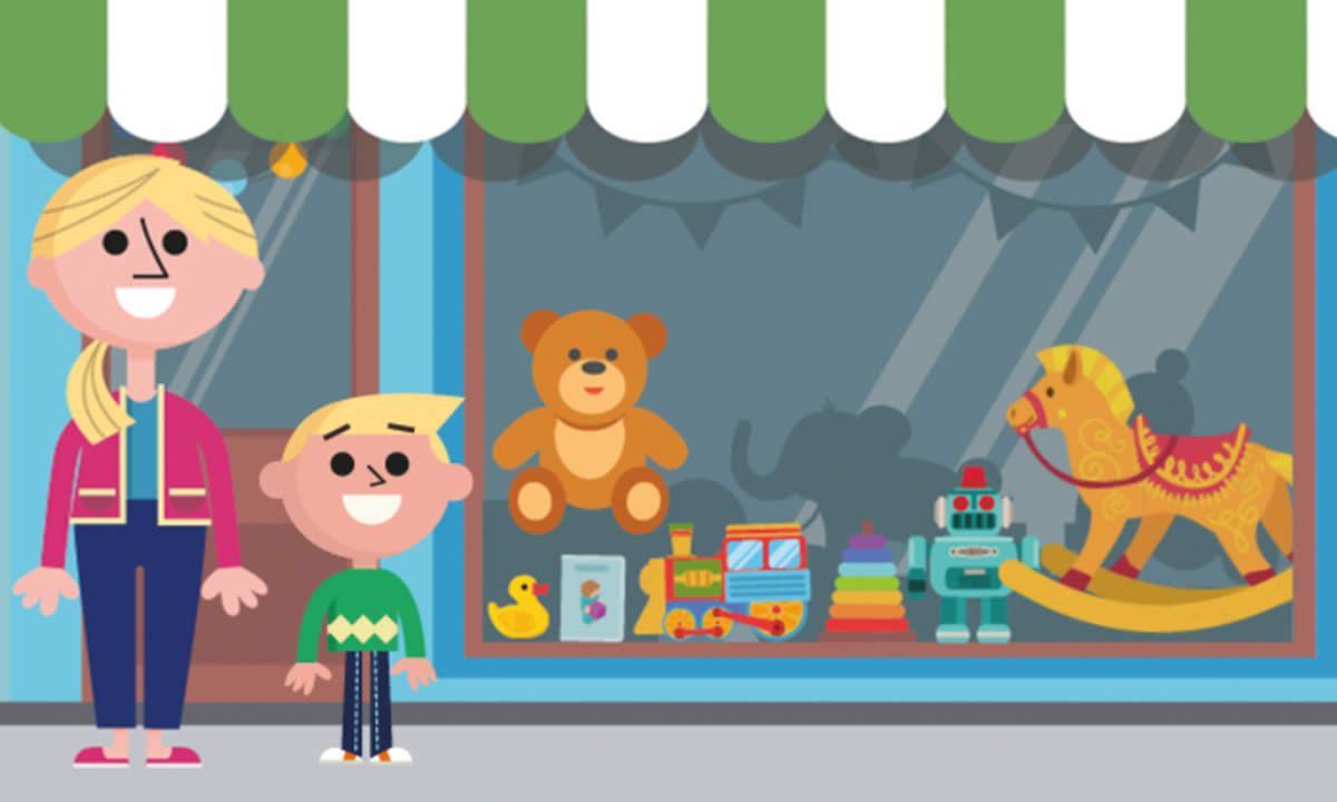 Illustration of a mother and son standing outside a toy shop