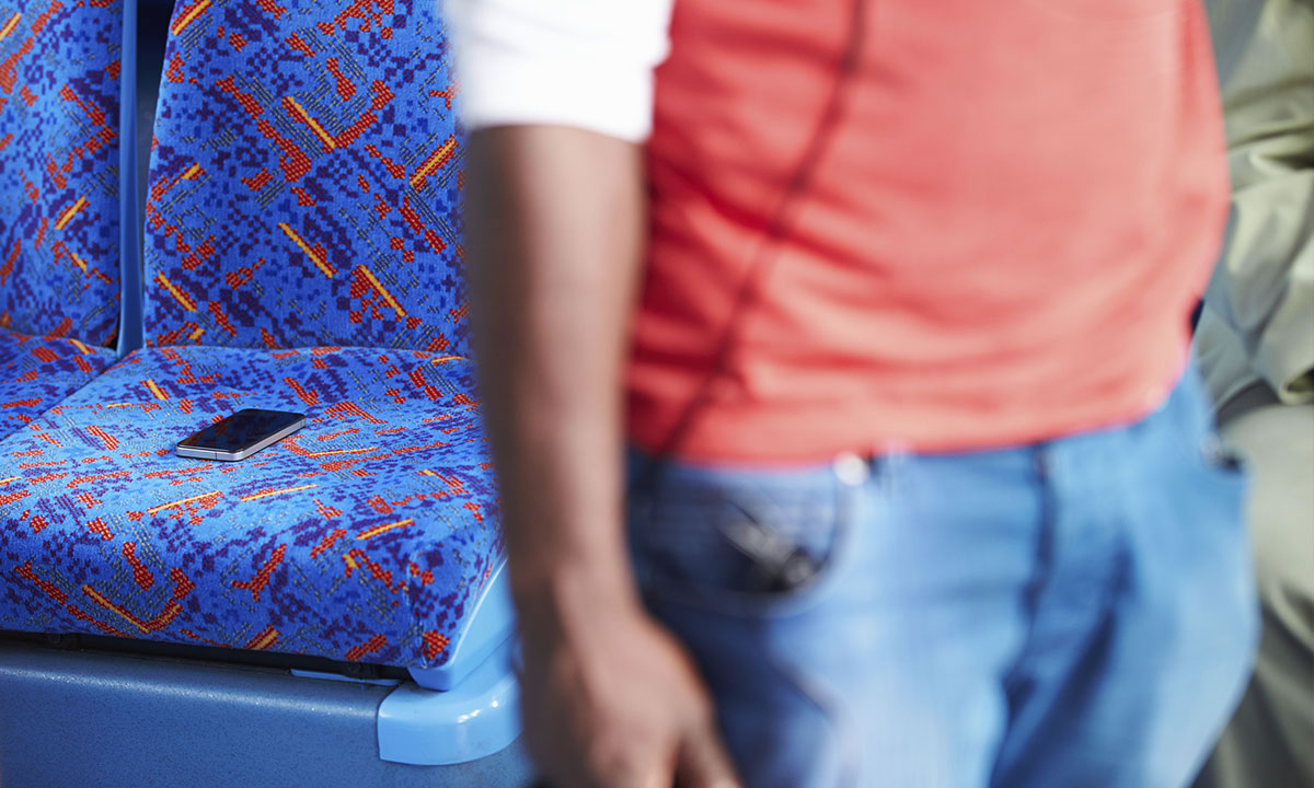 Mobile phone left on seat of a bus