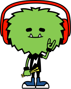 Green cartoon monster wearing red headphones and drumsticks