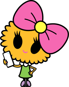 Cartoon girl with a bow on her head