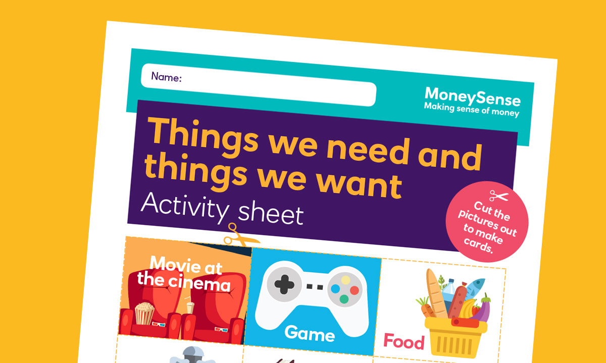 Activity sheet for What are needs and wants?