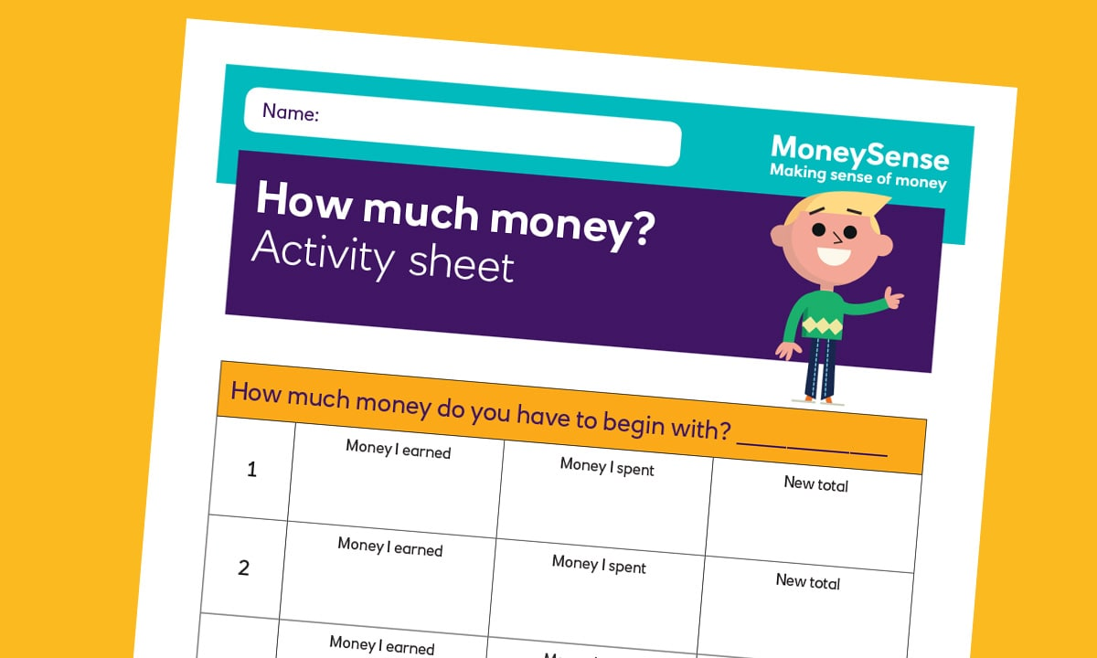 Activity sheet for How can I keep track of my money?