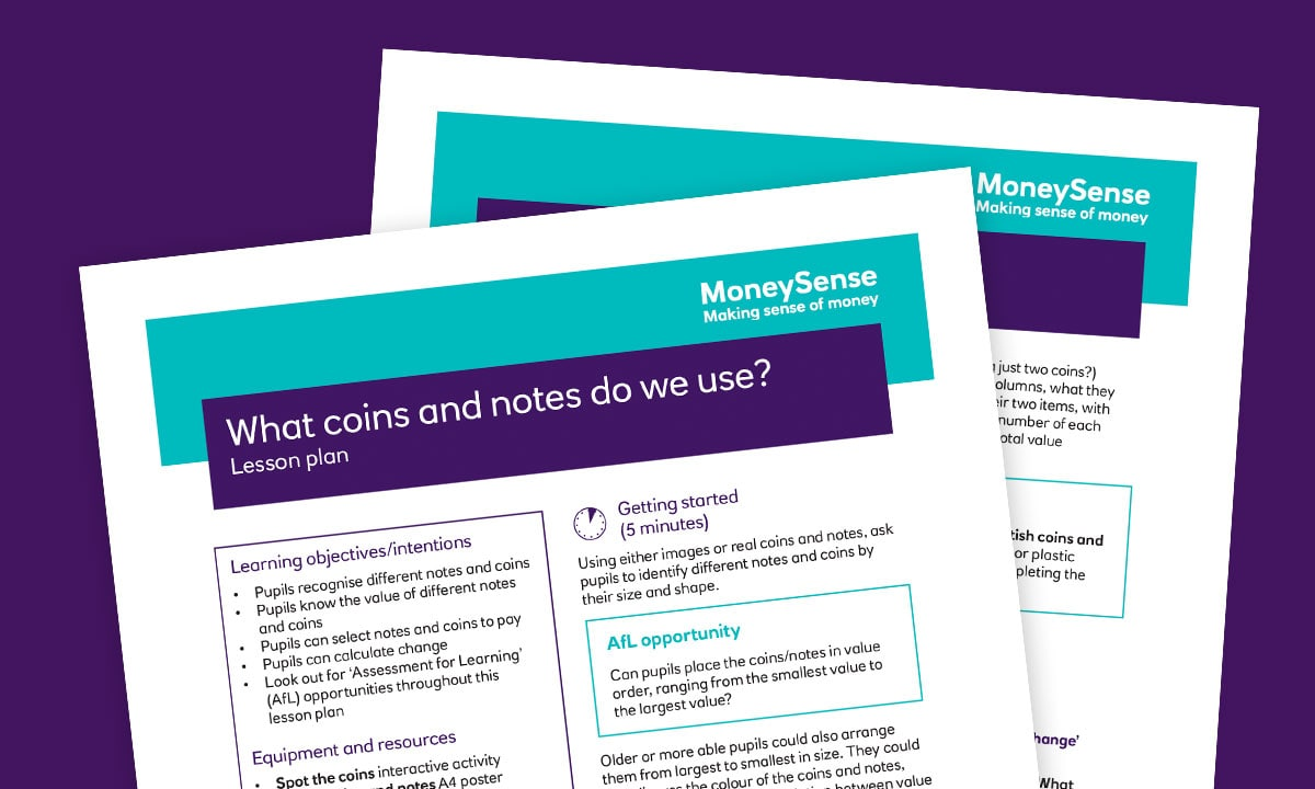 Lesson plan for What coins and notes do we use?