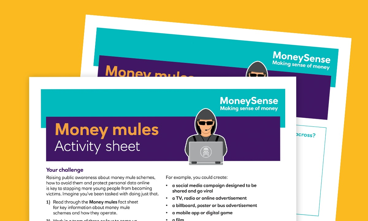 Activity sheet for How do I keep my finances secure?
