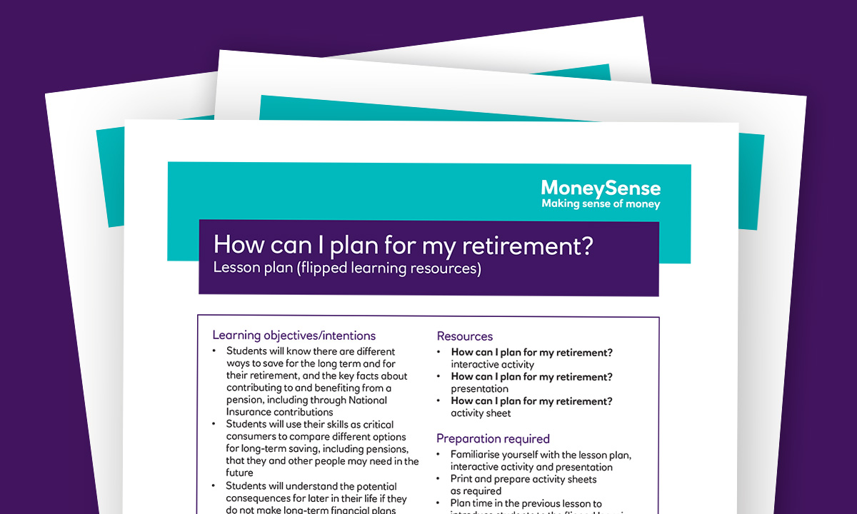 Lesson plan for How can I plan for my retirement?