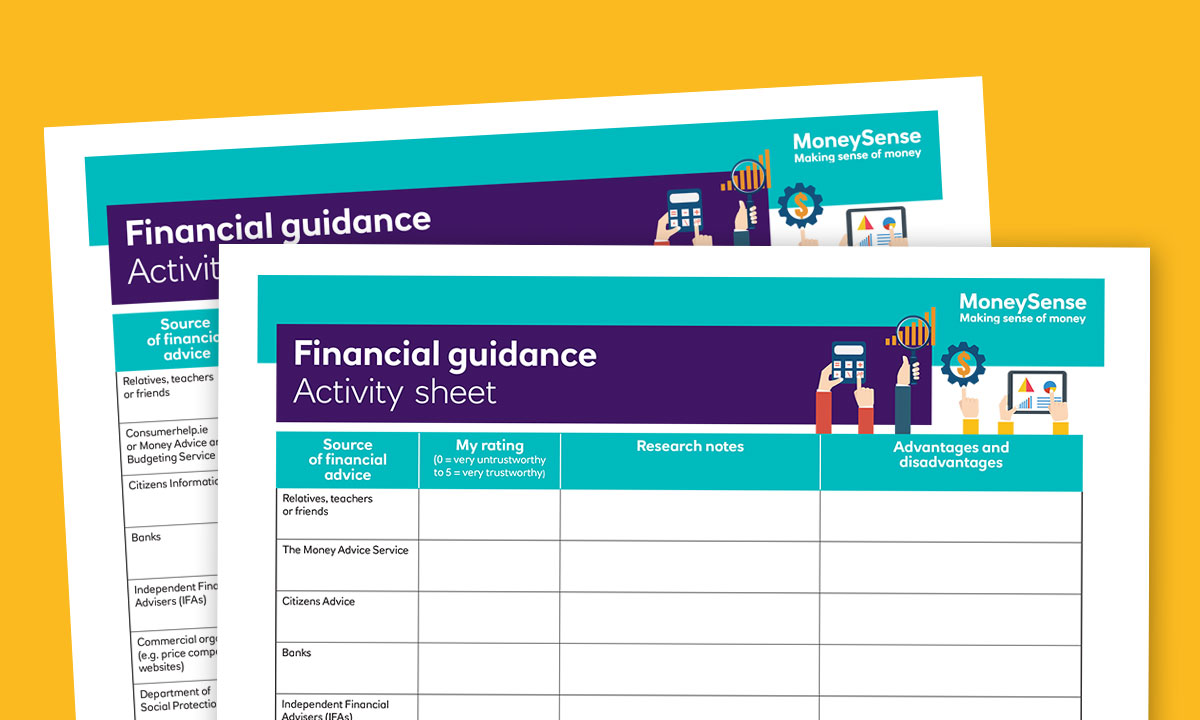 Activity sheet for Where can I get financial guidance?