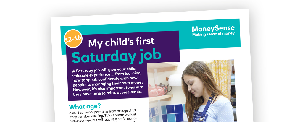 Money activities: My child's first... Saturday job