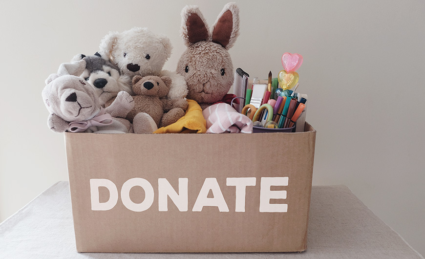 Donation box containing teddies and stationery