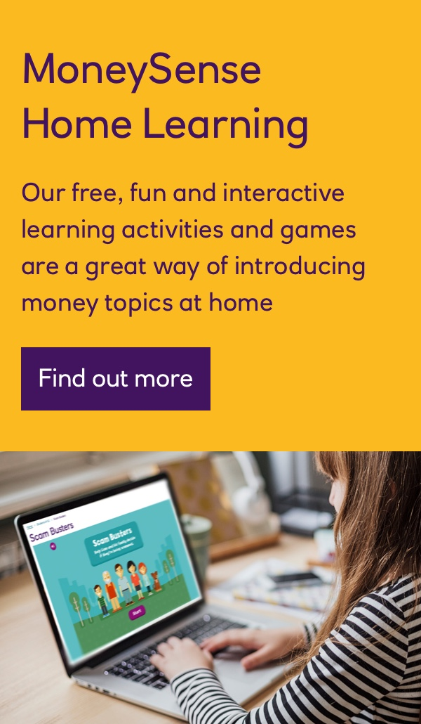 MoneySense Home Learning - Young girl playing Scam Busters on a laptop