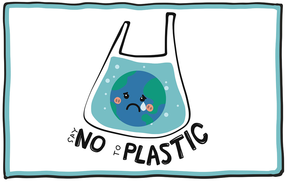 Say no to plastic illustration