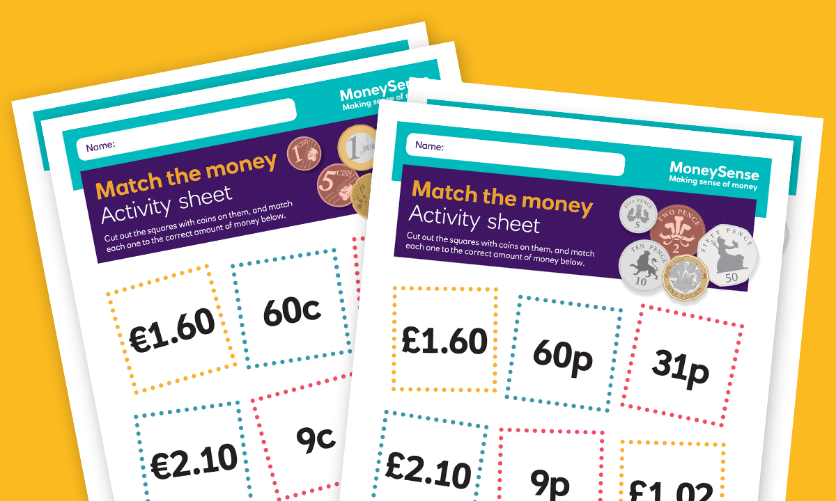 Money activities: Match the money