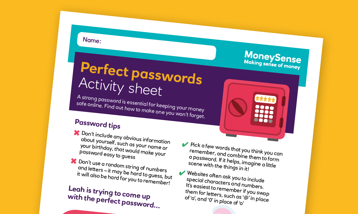 Money activities: Perfect passwords